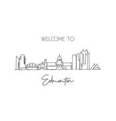 One single line drawing edmonton city skyline vector