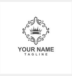 Ornamental crown twirl logo and icon vector