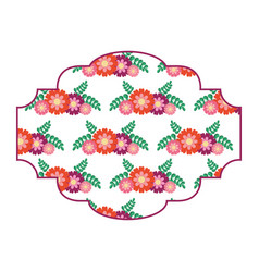 Pattern badge floral decoration spring flower vector
