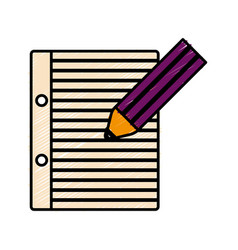 pencil and notebook page icon vector image