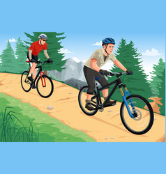 people riding mountain bikes vector image