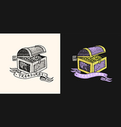 Pirate treasure chest logo marine and nautical or vector