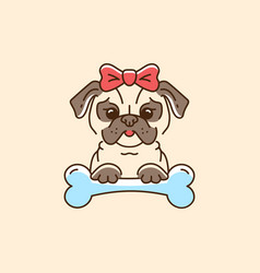 pug icon cartoon face dog with a bow and bone vector image