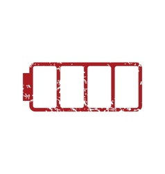 Red grunge empty battery logo vector image