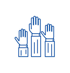 rightsthree hands up line icon concept rights vector image
