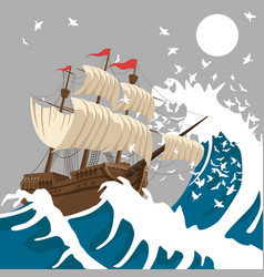 sail ship in strong storm in the evening vector image
