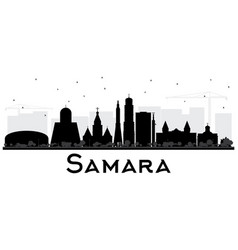 Samara russia city skyline silhouette with black vector