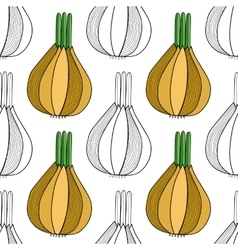 Seamless black white pattern with onions for vector image