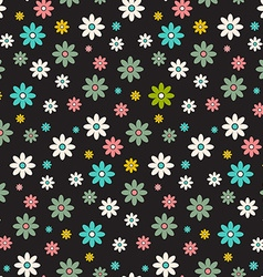 Seamless Pattern Dark Background - Retro Flowers vector image