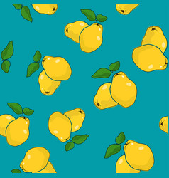 Seamless pattern quince on azure background vector