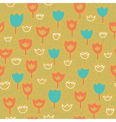 seamless pattern with tulips and grass Orange and vector image
