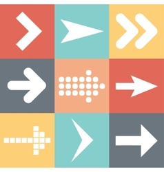 Set arrow icons flat UI web design elements trend vector image