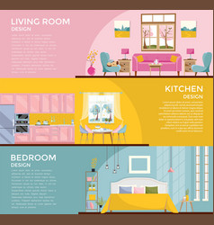 Set colorful graphic room interiors living vector