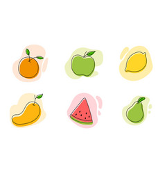 set fruits icons vector image