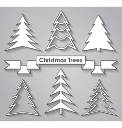 Set of Christmas trees Flat design vector image