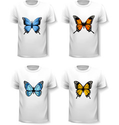 Set of shirt templates with butterfly designs vector image