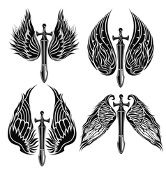 Set of Wings and Swords vector image