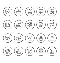 Set round line icons of cleaning vector