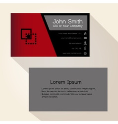 Simple red and black business card design eps10 vector