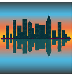 skyline wallpaper with skyscrapers in sunset vector image