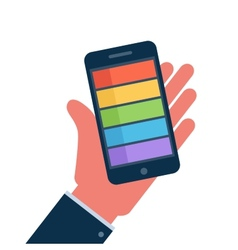 Smartphone on hand flat icon vector