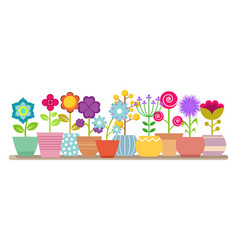 spring and summer flowers in pots vector image