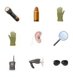 Surveillance icons set cartoon style vector