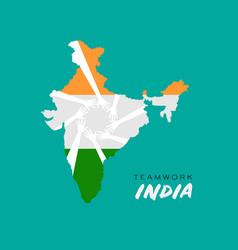Teamwork hands in india map logo vector