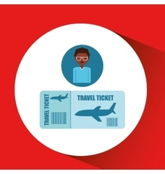 Travel girl cartoon tickets plane design graphic vector
