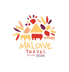 Travel to maldive logo design for travel agency vector