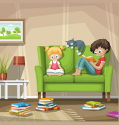 two children reading are reading books vector image