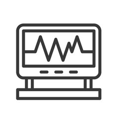 Vital sign on screen monitor outline icon vector