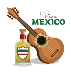 Viva mexico guitar and bottle tequila graphic vector