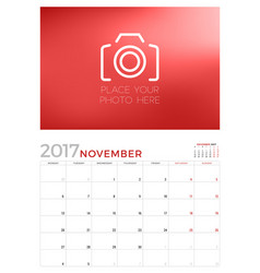 Wall calendar planner template for november 2017 vector