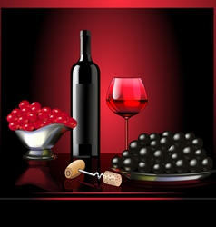 wine goblet grape on dark background vector image