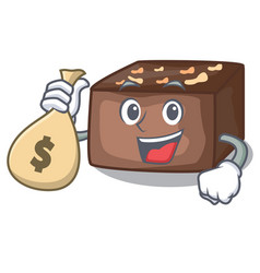 With money bag character cartoon almond cake with vector