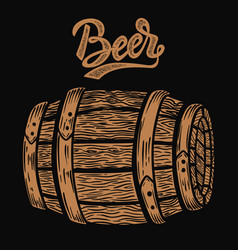 wooden barrel beer in engraving style design vector image