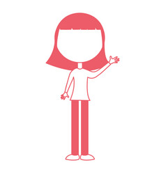 Young girl waving avatar character vector