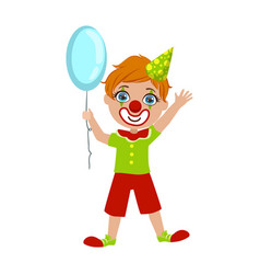 boy in clown costume part of kids at the birthday vector image vector image