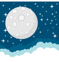 Full Moon in the Starry Cosmic Dark Blue Sky with vector image