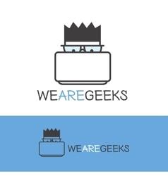 geek logotype Modern outline computer nerd vector image