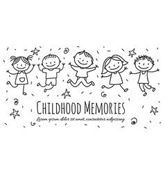 Group of children jumping vector image vector image