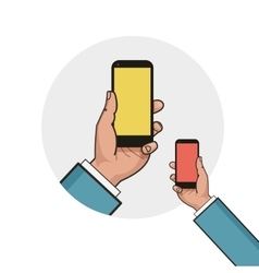 Mobile phone in businessman hand Left hand using vector image vector image