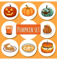Set of delicious dishes from pumpkins vector image vector image