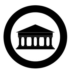 bank building icon black color in circle or round vector image