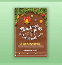 Christmas Party Decoration With Wooden Board vector image