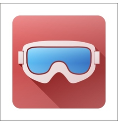 Flat icon with classic snowboard ski goggles vector