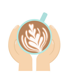 hand holding cup of coffee vector image vector image