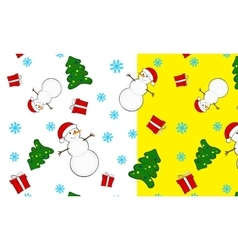 seamless Christmas pattern snowmen vector image