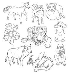 Bull dog dragon horse monkey rabbit sheep vector